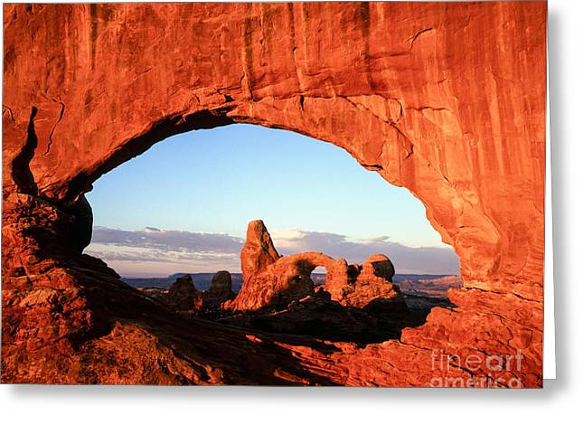 The Plateaus Greeting Cards -  Turret Arch through North Window Greeting Card by Tracy Knauer