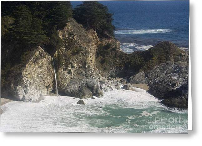 Big Sur Beach Digital Art Greeting Cards -  Ocean Waterfall Greeting Card by Chris Berry