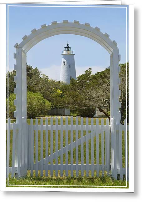 Bank Digital Greeting Cards -  Ocracoke Island Lighthouse Greeting Card by Mike McGlothlen