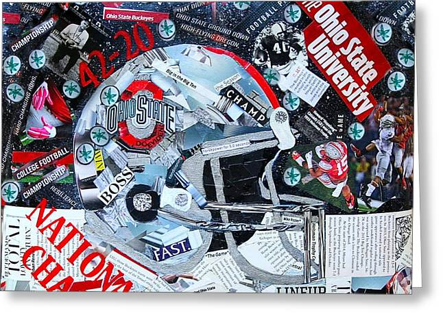 Football Art Greeting Cards -  Ohio State University National Football Champs Greeting Card by Colleen Taylor