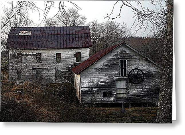 Old Tapestries - Textiles Greeting Cards -  Old Mill and General Store Greeting Card by Thia Stover