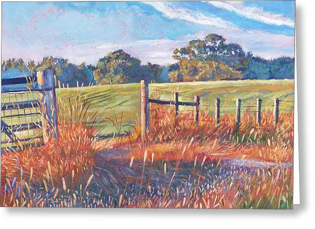 Pastoral Landscape Greeting Cards -  Old Post Gate Greeting Card by David Lloyd Glover