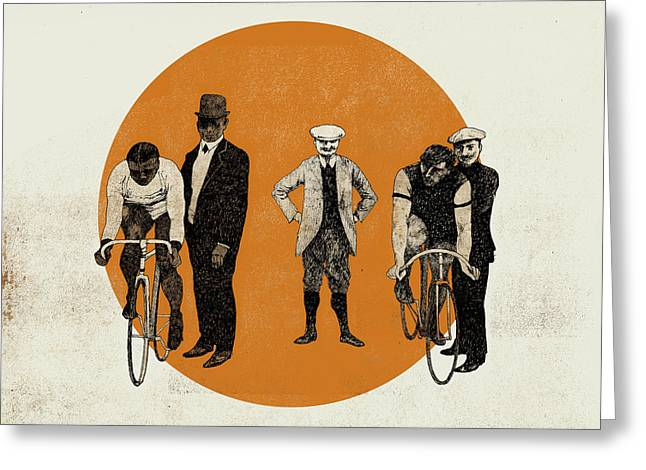 Bike Race Greeting Cards -  Old Time Trial Greeting Card by Eliza Southwood