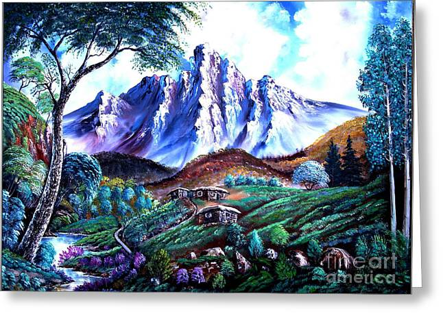 Bob Ross Paintings Greeting Cards -  Old Village Greeting Card by Shirwan Ahmed