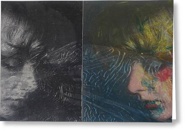 Woman Head Greeting Cards -  On the Both Sides of the Iron Curtian I Greeting Card by Dimitar Hinkov