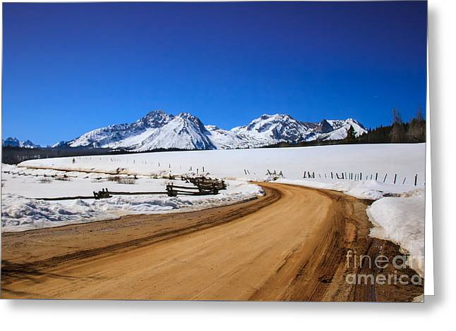 Haybales Greeting Cards -  Open Road ToThe Sawtooth Mountains Greeting Card by Robert Bales
