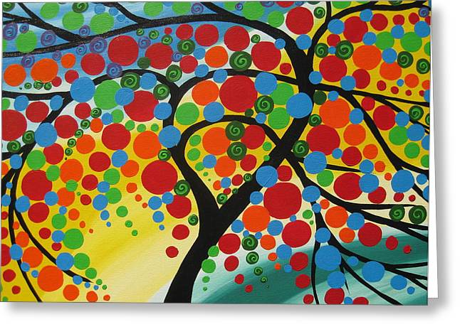 Living With Joy Greeting Cards -  Orb Tree  Greeting Card by Cathy Jacobs