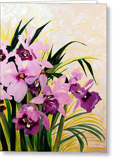 Feminine Reliefs Greeting Cards -  Orchid ... Greeting Card by Janet Siraki