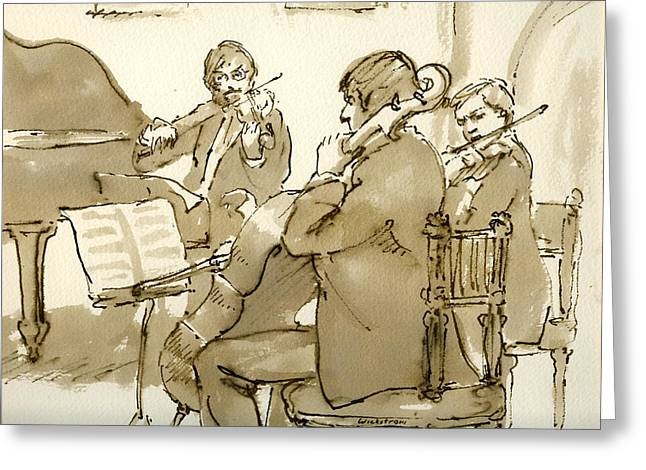 Brahms Greeting Cards -  Original Pen and Ink Drawing Three Musicians in Concert Greeting Card by Thor Wickstrom