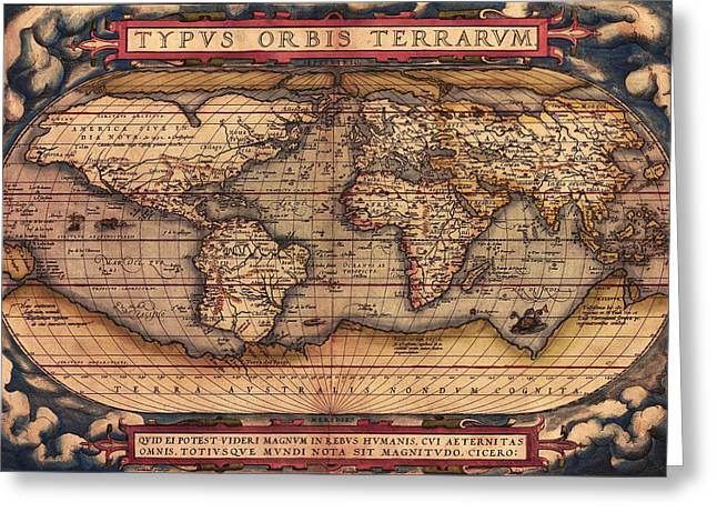 Ortelius Greeting Cards -  Ortelius World Map -Typvs Orbis Terrarvm - 1570 Greeting Card by Digital Reproductions