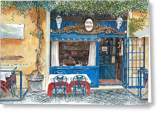 Italian Cafe Greeting Cards -  Osteria Margutta Rome Italy Greeting Card by Anthony Butera