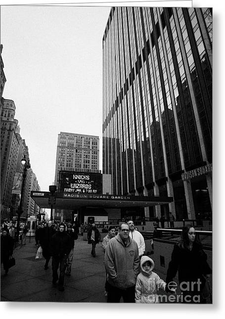 Manhaten Greeting Cards -  Outside Madison Square Garden New York City Winter Usa Greeting Card by Joe Fox