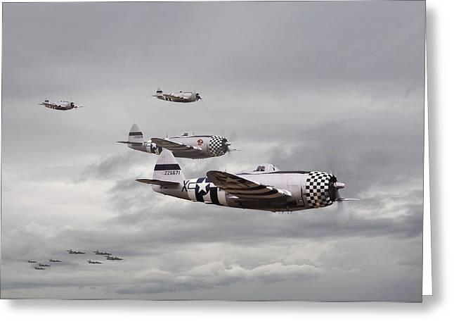 Thunderbolt Greeting Cards -  P47 Thunderbolt  Top Cover Greeting Card by Pat Speirs