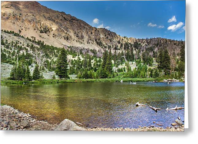 White Knob Mountains Greeting Cards -  Panoramic View of An Alpine Lake Greeting Card by Robert Bales