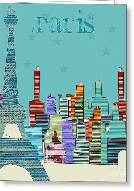 Paris At Night Greeting Cards -  Paris blues Greeting Card by Bri Buckley