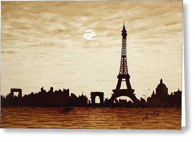 Paris Under Moonlight Silhouette France Greeting Card by Georgeta  Blanaru