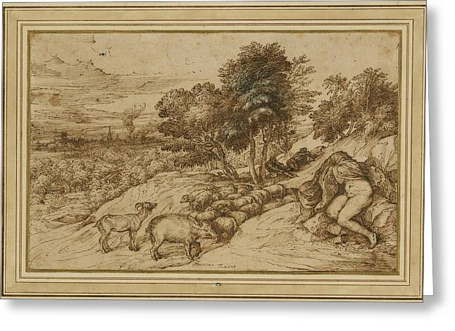 Pen And Ink Drawing Greeting Cards -  Pastoral Scene Greeting Card by Titian