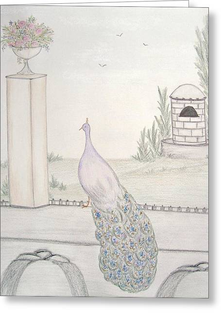 Italian Landscape Pastels Greeting Cards -  Peacock in an Italian Landscape Greeting Card by Christine Corretti