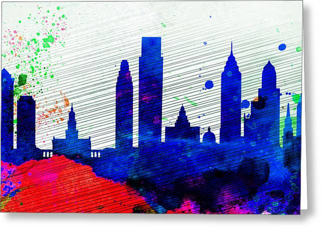 Philadelphia Skyline Greeting Cards -  Philadelphia City Skyline Greeting Card by Naxart Studio