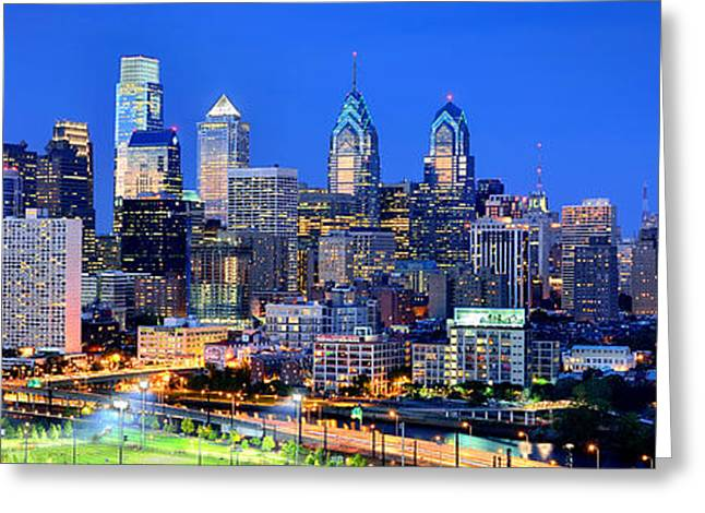 Philadelphia Skyline Greeting Cards -  Philadelphia Skyline at Night Evening Panorama Greeting Card by Jon Holiday