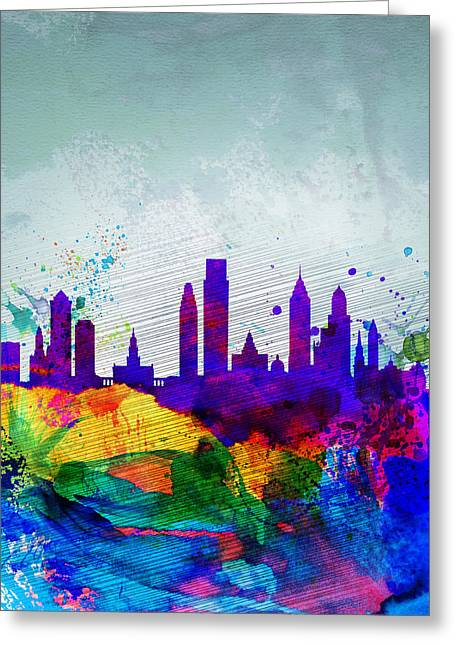 Landscape. Scenic Digital Art Greeting Cards -  Philadelphia Watercolor Skyline Greeting Card by Naxart Studio