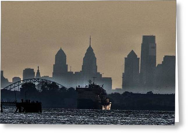Stein Greeting Cards -  Philly Skyline Greeting Card by Valerie Stein