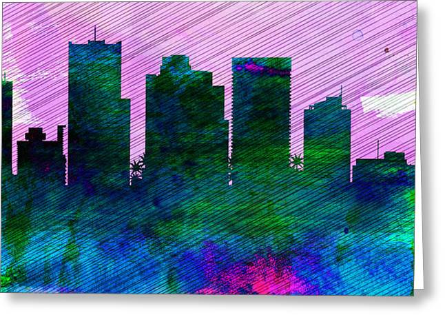 Architectural Paintings Greeting Cards -  Phoenix City Skyline Greeting Card by Naxart Studio