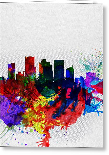 Extinct And Mythical Digital Art Greeting Cards -  Phoenix Watercolor Skyline 2 Greeting Card by Naxart Studio
