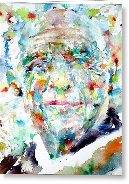 Pablo Paintings Greeting Cards -  PICASSO - watercolor portrait Greeting Card by Fabrizio Cassetta