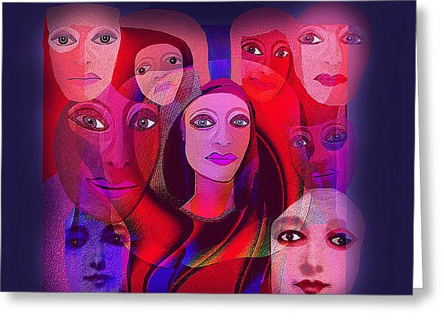 Many Faces Greeting Cards -   013 - Pink Shade of Red  Greeting Card by Irmgard Schoendorf Welch