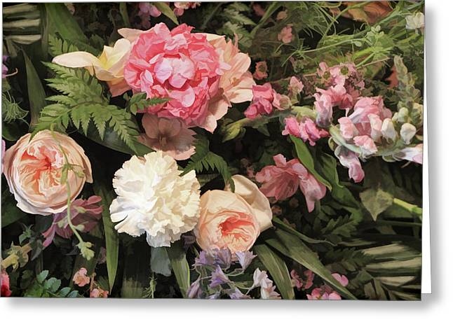 Floral Digital Art Greeting Cards -  Pink Watercolor Style Bouquet Greeting Card by Linda Phelps