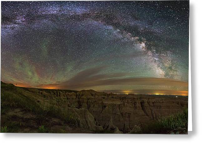 Light Pollution Greeting Cards -  Pinnacles Overlook at Night Greeting Card by Aaron J Groen