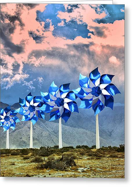 Southern Ca Greeting Cards -  PINWHEELS WINDMILLS Palm Springs Greeting Card by William Dey