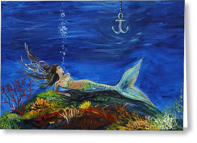 Anchor Underwater Greeting Cards -  Pirates True Love Awaits Greeting Card by Leslie Allen