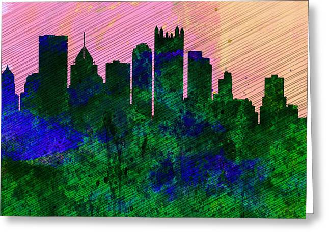 Downtown Pittsburgh Greeting Cards -  Pittsburgh City Skyline Greeting Card by Naxart Studio