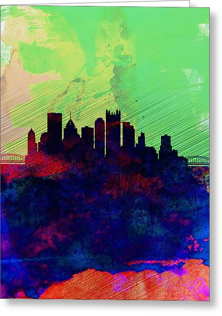 Pittsburgh Digital Greeting Cards -  Pittsburgh Watercolor Skyline Greeting Card by Naxart Studio