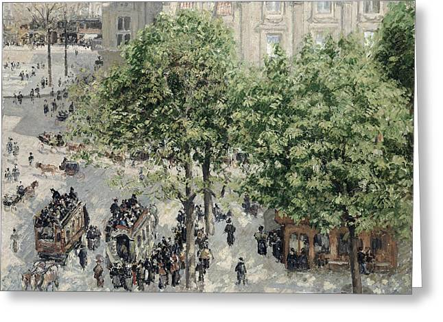 Francais Greeting Cards -  Place du Theatre Francais Greeting Card by Camille Pissarro