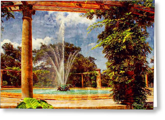 Brian Lukas Greeting Cards -  POPs Fountain -  New Orleans City Park Greeting Card by Brian Lukas