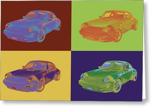 Sporty Greeting Cards -  Porsche Carrera Sports Car Pop Art Greeting Card by Keith Webber Jr