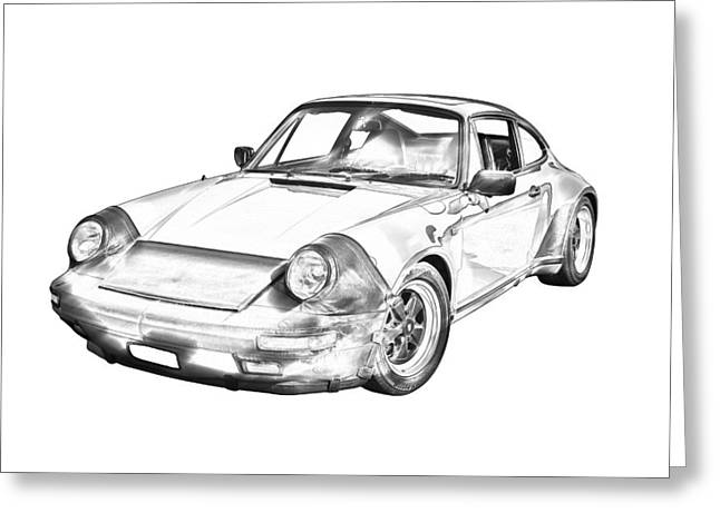 Collectible Sports Art Greeting Cards -  Porsche Carrera Sportscar Illustration Greeting Card by Keith Webber Jr