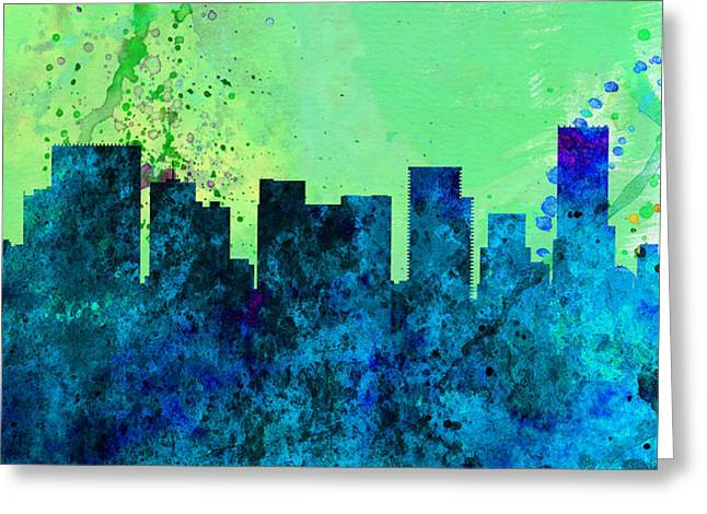 Portland Greeting Cards -  Portland City Skyline Greeting Card by Naxart Studio