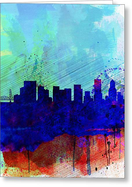 Portland Greeting Cards -  Portland Watercolor Skyline Greeting Card by Naxart Studio