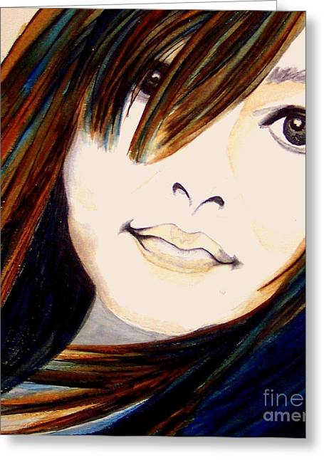 Brown Eyed Girl Greeting Cards -  Portrait of a Woman Greeting Card by Janine Riley