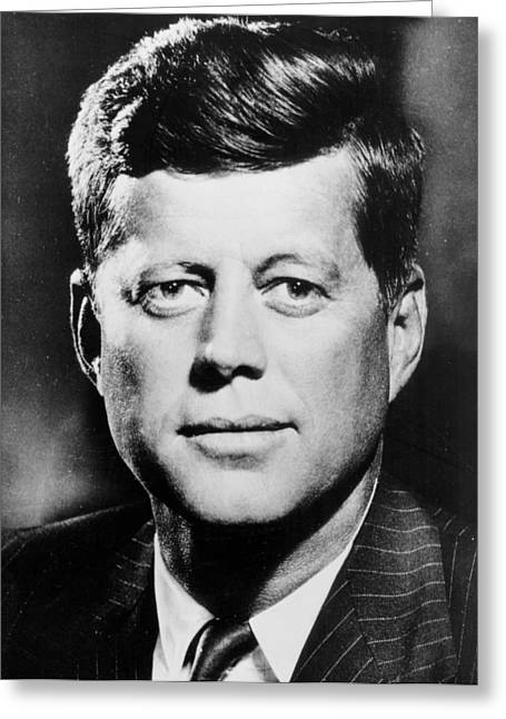 White Suit Greeting Cards -  Portrait of John F. Kennedy  Greeting Card by American Photographer