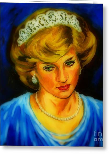 British Royalty Digital Greeting Cards -  Portrait of Lady Diana Greeting Card by John Malone
