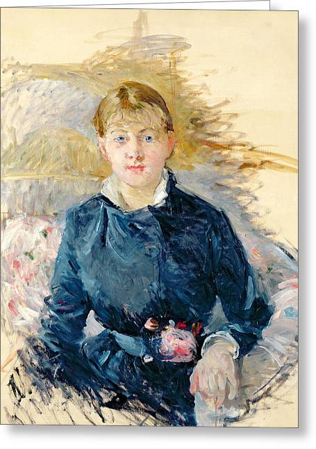 Morisot Reproductions Greeting Cards -  Portrait of Louise Riesener Greeting Card by Berthe Morisot