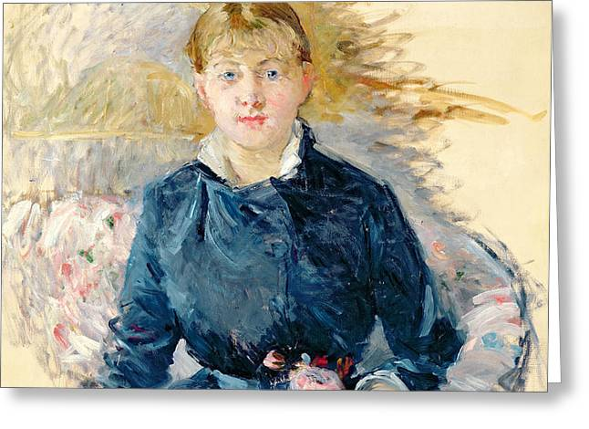 Portrait of Louise Riesener Greeting Card by Berthe Morisot