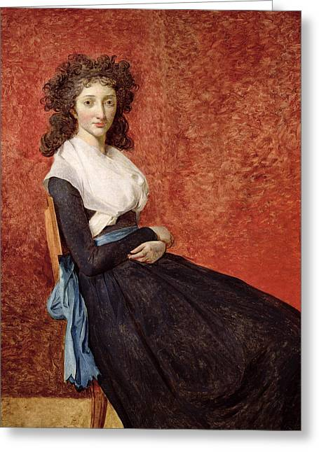 Looking At Viewer Greeting Cards -  Portrait of Madame Charles-Louis Trudaine Greeting Card by Jacques Louis David
