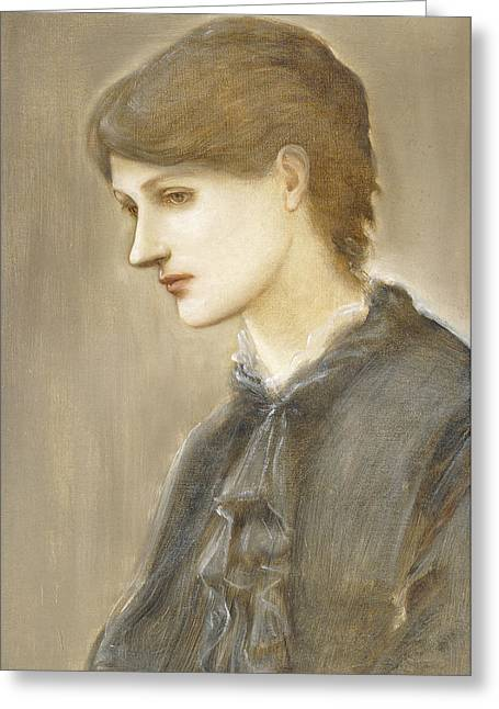 Short Hair Greeting Cards -  Portrait of Mrs William J Stillman nee Marie Spartali Greeting Card by Sir Edward Coley Burne Jones