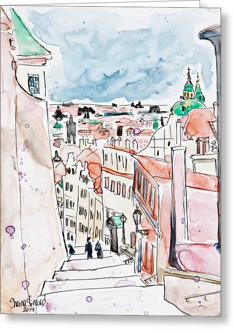 Yupo Paper Greeting Cards -  Prague Castle Steps Greeting Card by Shaina Stinard